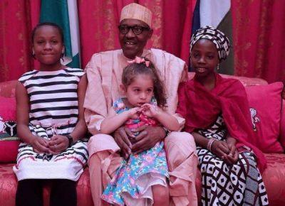 President Buhari Meets Three Young Girls