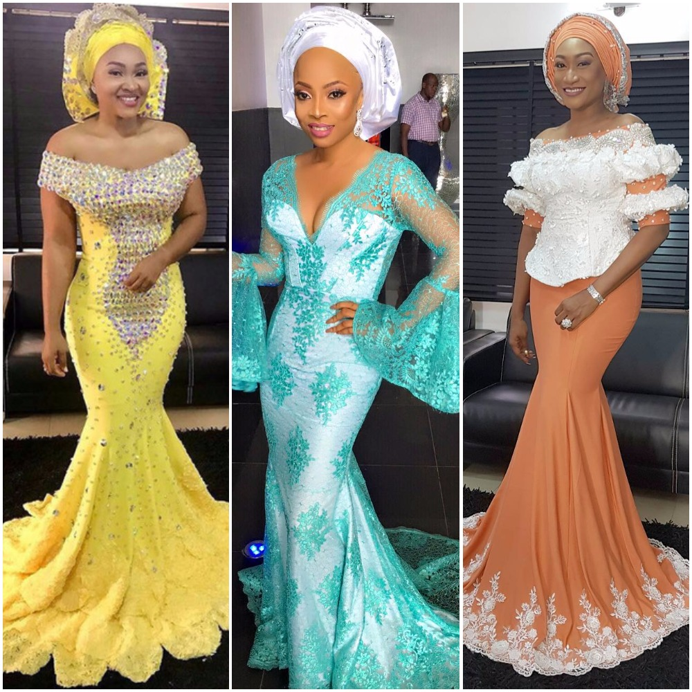 13 Photos Of Your Favourite Celebrities Slaying In Unique Aso Ebi Styles