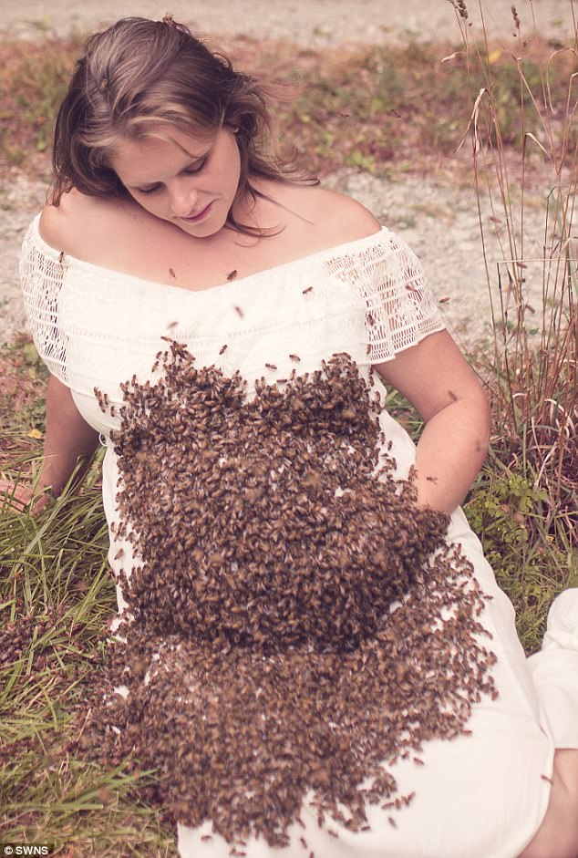 Pregnant Woman Posed With Bees For Her Maternity Photo Shoot And This Is What Happened On Delivery Day