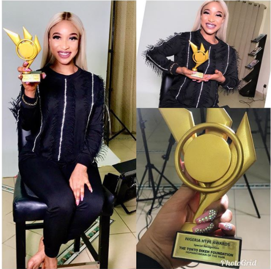 Tonto Dikeh Is One Step Up As She Wins Humanitarian Of The Year Award