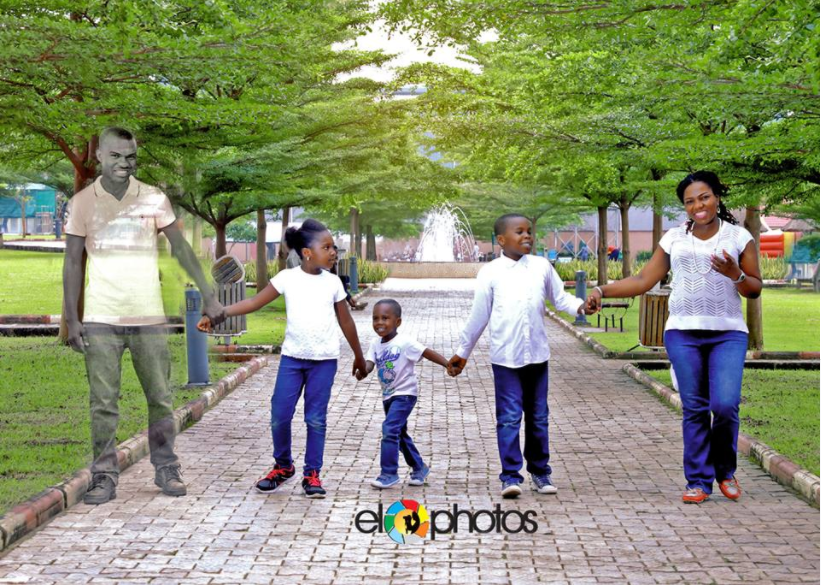 Funmi Afolarin Photoshops Her Late Husband Into Family Pictures