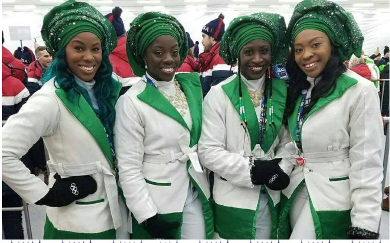 Nigerian Bobsled Team's Grand Entrance At Winter Olympics In Korea