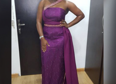 Bisola Aiyeola Purple Asoebi Dress
