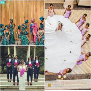 bride and bridesmaids creative photo ideas