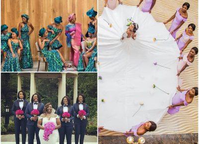 bride and bridesmaids creative photo ideas