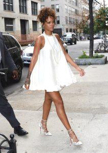 rihanna little white dress