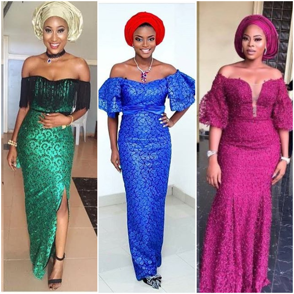 Latest Off-Shoulder-Aso-Ebi Styles 2018