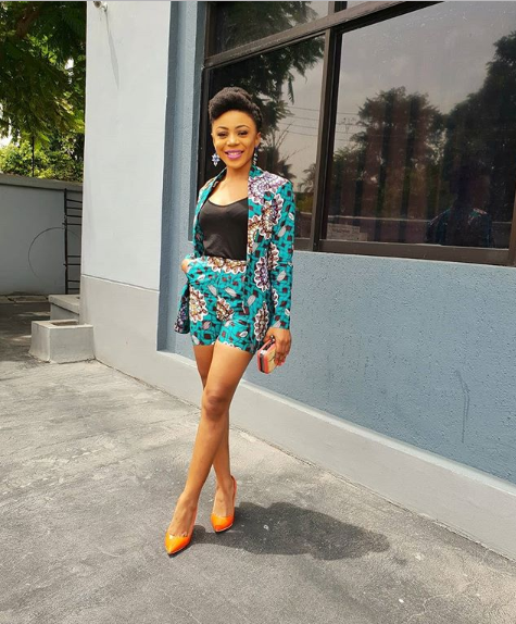 BBNaija 2018 Housemate, Ifu Ennada Looks Chic In This Beautiful Ankara Jacket And Shorts