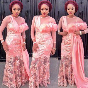 peach aso-ebi styles
