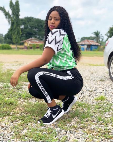 70aa8749339 Regina Daniels Shares Stunning Photos Wearing Nigerian Jersey