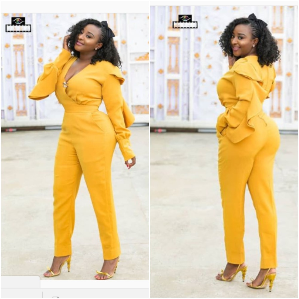 These Photos Of Nollywood Actress, Ini Edo In A Yellow Jumpsuit Will Brighten Your Day