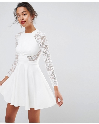 c3468d3b33b6 asos-premium-mini-scuba-skater-dress-with-lace-sleeves-white ...