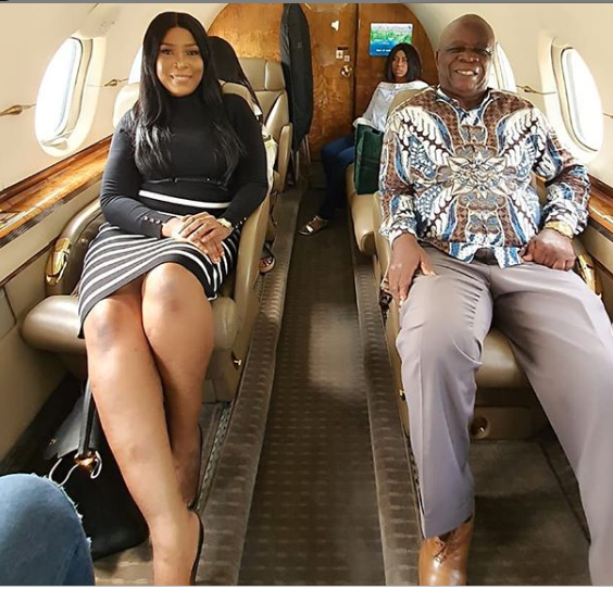 Excitement As Linda Ikeji And Her father Fly Private Jet For The First Time