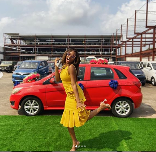 Joy As BbNaija Star, Khafi Finally Receives Her Car Prize From Innoson Motors