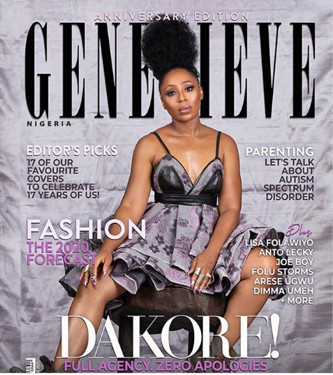 Actress Dakore Akande Stuns As Cover Girl For Genevieve Magazine's 2020 Anniversary Edition