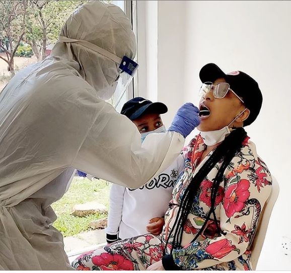 Check Out This Photo Of Tonto Dikeh Undergoing A Coronavirus Test