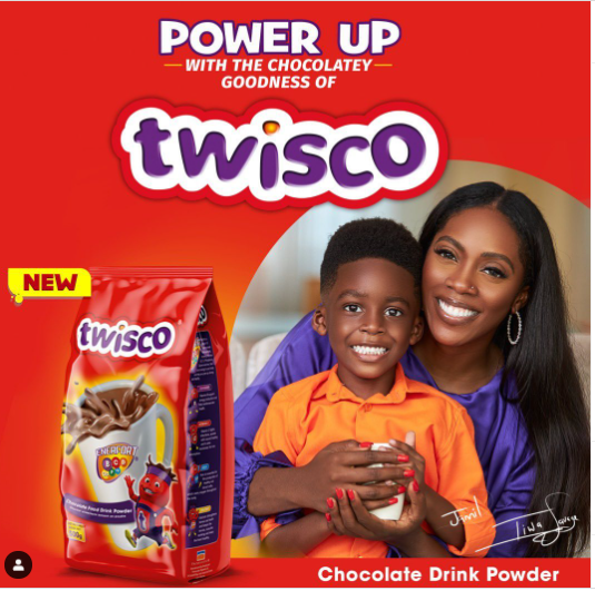 Tiwa Savage and Son, Jamil Turn into Model Ambassadors For Chocolate Drink Model, Twisco Tiwa Savage Jamil brand ambassador twisco