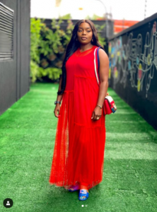 Bisola Aiyeola Crimson Outfits | Photographs Bisola In red 222x300