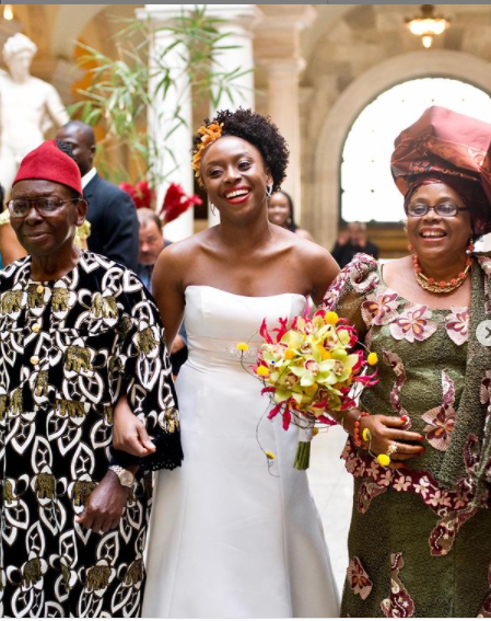 father walking the bride down the aisle tradition: nigerian author shares thoughts on the need to change status quo Father Walking The Bride Down the Aisle Tradition: Nigerian Author Shares Thoughts On The Need To Change Status Quo chimamanda adichie walks down the aisle with parents
